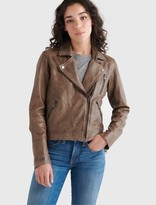 Lucky Brand Distressed Leather Moto Jacket
