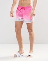 Asos Short Length Swim Shorts In Pink Dip Dye