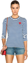 Comme des Garcons Striped Cotton Red Heart Tee