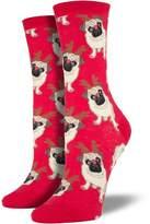 Socksmith Women's Antler Pug Crew Socks