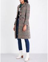 Sandro Ladies Grey Checked Wool-Blend Coat