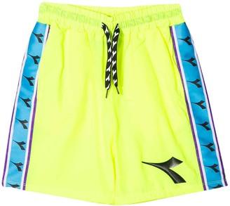 Diadora Yellow Flue Shorts With Side Band