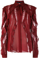 Elie Saab sheer stripes frilled blouse