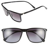 BOSS Men's 57Mm Retro Sunglasses - Shiny Black/ Grey Gradient