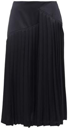 Cédric Charlier Pleated Satin Midi Skirt
