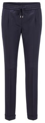 HUGO BOSS Regular-fit pinstripe trousers in traceable stretch virgin wool