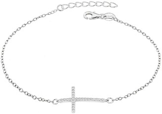 The Love Silver Collection Sterling Silver Rhodium Plated Cubic Zirconia Cross Bracelet