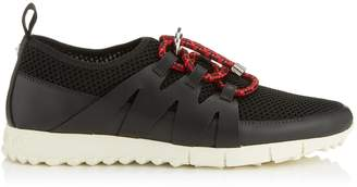 Jimmy Choo NIJA Black Leather Mix and Wash Red Mesh Trainer with Cord Toggle