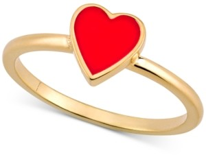 Sarah Chloe Love Count Enamel Heart Ring in 14k Gold-Plated Sterling Silver