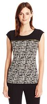 Calvin Klein Women's S/L Top Withhorizontal Zips