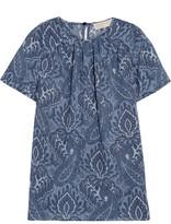 MICHAEL Michael Kors Printed Chiffon Top - Blue