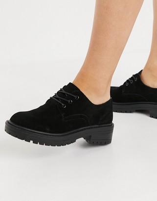 Topshop velvet lace-up shoes in black
