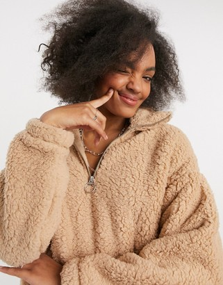 Hollister reversible textured hoodie in tan