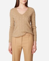 N.Peal Diagonal Cable V Neck Cashmere Sweater
