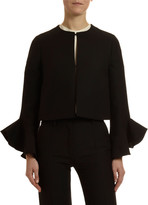 Valentino Long-Sleeve Bell-Cuff Crepe Couture Jacket