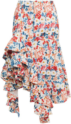 J.W.Anderson Ruffled Floral-print Cotton-blend Midi Skirt