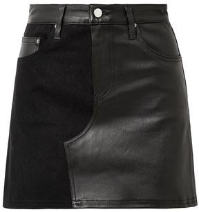 Amiri Paneled Leather And Denim Mini Skirt