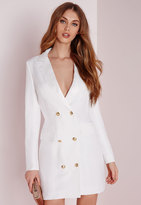 Missguided Long Sleeve Tuxedo Dress White
