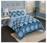 Vue Blue Medallion Reversible Karma Love Comforter Set
