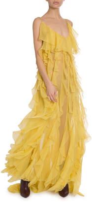 Valentino Ruffled Silk-Chiffon Slip Gown