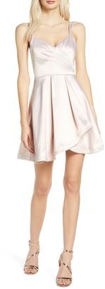 Sequin Hearts Satin Faux Wrap Cocktail Dress
