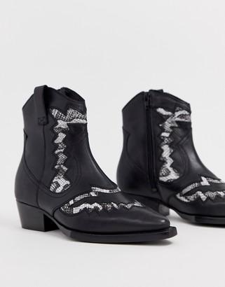 Bronx Jacky-Jo leather & snake mix western boots
