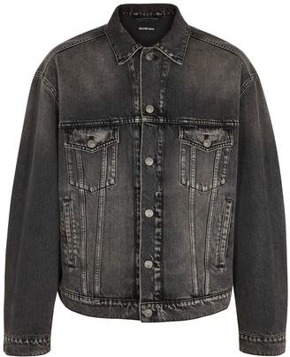 Balenciaga Dark Grey Printed Denim Jacket