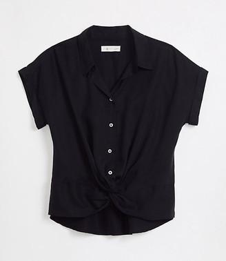 LOFT Lou & Grey Fluid Twill Twist Front Shirt