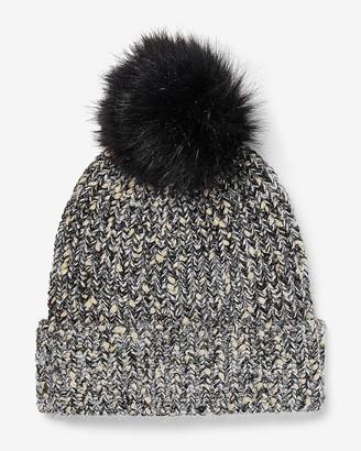 Express Metallic Ribbed Knit Pom Beanie
