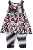 Children's Apparel Network Gray & Black Floral Top & Leggings - Toddler