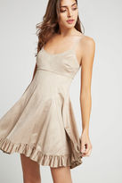 BCBGeneration Faux-Suede Ruffle-Hem Dress - Tan