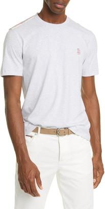 Brunello Cucinelli Athletic Stripe Crewneck T-Shirt