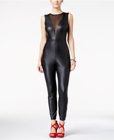 Material Girl Juniors' Faux-Leather Illusion Jumpsuit, Only at Macy's