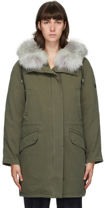 Yves Salomon Army Green Down and Fur Jacket