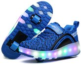 Seunota Kids LED Flash Sneaker Sports Shoes Retractable Double Wheel Roller Glowing Sneakers
