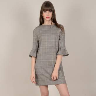 Molly Bracken Short Checked Shift Dress with Fluted Long Sleeves