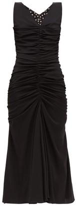 Dolce & Gabbana Ruched-front Silk-blend Dress - Black