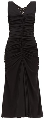 Dolce & Gabbana Ruched-front Silk-blend Dress - Womens - Black