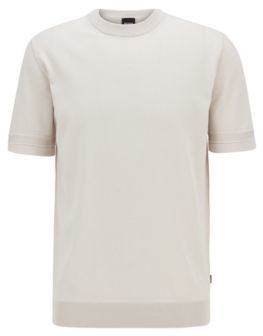 HUGO BOSS Short Sleeved Knitted Sweater With Micro Structured Stripes - White