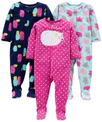 Carter's Simple Joys by Girls' 3-Pack Loose Fit Flame Resistant Fleece Footed Pajamas