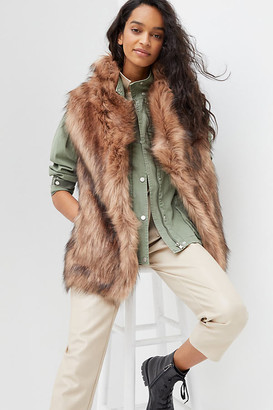 Fascination Faux Fur Vest By Unreal Fur in Brown Size S