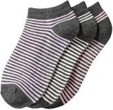 Joe Fresh Kid Girls' 3 Pack Assorted Stripe Socks, Charcoal (Size 11-2)