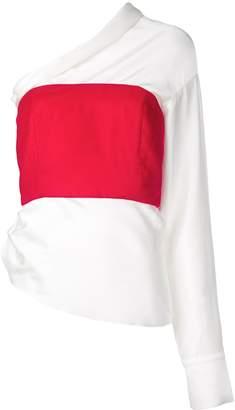 Hellessy asymmetric contrast blouse