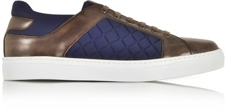 Fratelli Borgioli Ebony Hand-Painted Leather and Blue Quilted Nylon Men's Sneakers