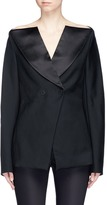 Dion Lee Double-breasted off-shoulder wool tuxedo jacket