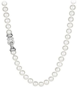 David Yurman Sterling Silver & White Cultured Freshwater Pearl Necklace With Diamonds/36""