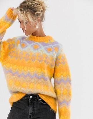 Asos Design DESIGN premium oversized brushed fairisle jumper-Multi