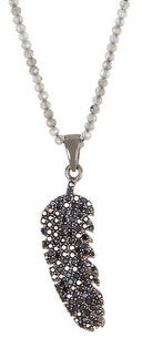 Forever Creations Sterling Silver Labradorite Bead & Black Spinel Feather Pendant Necklace