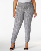 Alfani Plus Size Herringbone-Print Skinny Pants, Only at Macy's