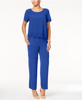 NY Collection Petite Laser-Cutout Popover Jumpsuit